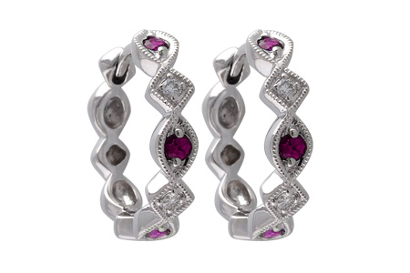 K037-82545: EARRINGS .20 RUBY .25 TGW